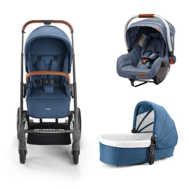 Oferta de Combo Passeio - Carrinho Rover Reclinável, Moisés Rover 0-9Kg e Bebê Conforto 0-13Kg Azul Litet - BB670K por R$319,19