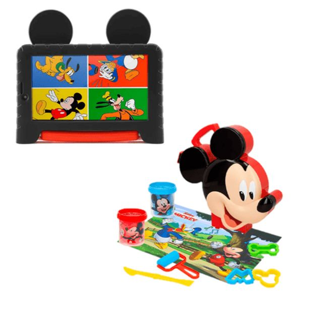 Oferta de Combo Kids - Tablet Multilaser Mickey Mouse Plus Wi-Fi Tela 7 Pol. 16GB Quad Core e Maleta Mickey Com Massinha E Acessórios - NB314K por R$543,19