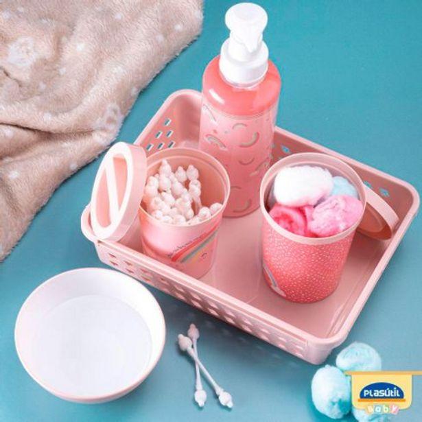 Oferta de Kit higiene arco-íris 5 peças Plasútil por R$52,99