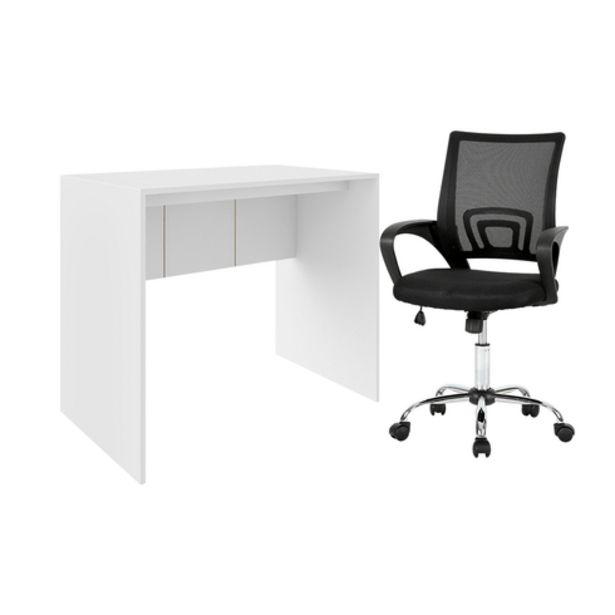 Oferta de Combo Escritório - Mesa para Computador 90cm e Cadeira De Escritório Executive Multilaser - GA197K por R$743,19