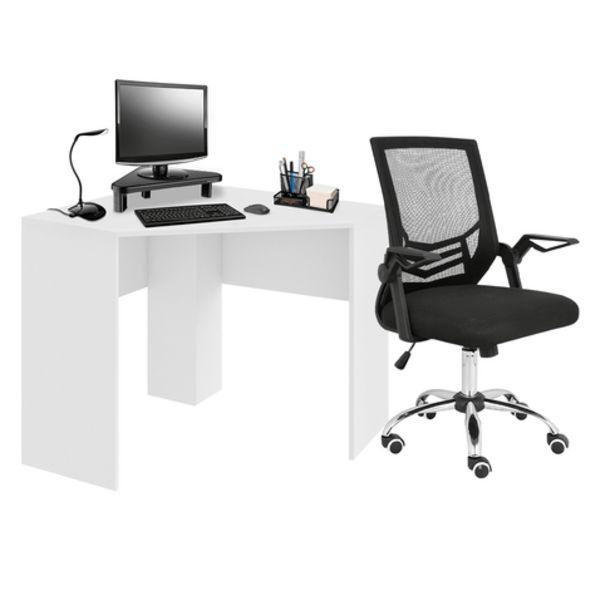 Oferta de Combo Office - Mesa de Canto para Computador 90x90cm Branco Fosco e Cadeira de Escritório Adapt Giratória Multilaser - GA204K por R$951,99