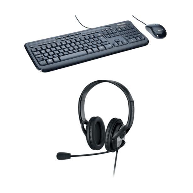 Oferta de Combo Office - Teclado E Mouse Com Fio Desktop 600 USB Preto e Fone Com Microfone Usb Preto Microsoft - 3J200006K por R$351,99