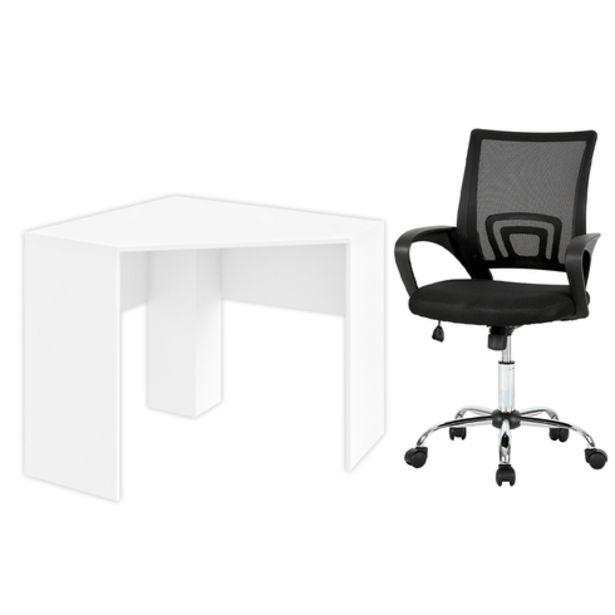 Oferta de Combo Escritório - Mesa de Canto para Computador 90x90cm e Cadeira De Escritório Executive Multilaser - EI076K por R$799,99