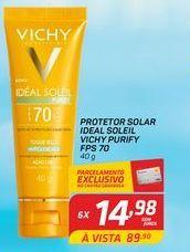 Oferta de Protetor solarideal soleil vivhy purify FPS 70 40 gr por R$14,98