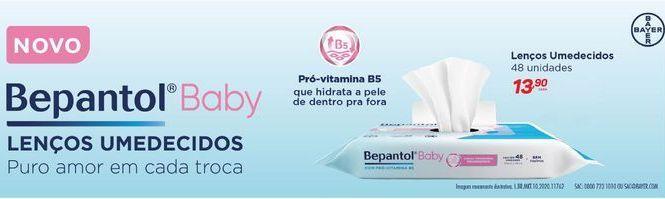Oferta de Lenços umedecidos Bepantol baby 48 unidades por R$13,9