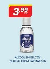 Oferta de Álcool em gel 70 % neutro cosm. Farmax 50 g por R$3,99