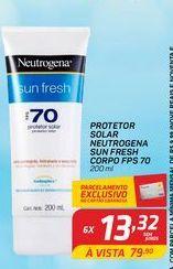 Oferta de Protetor solar Neutrogena sun fresh corpo FPS 70 200 ml por R$13,32