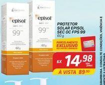 Oferta de Protetor solar Episol sec oc FPS 99 por R$14,98