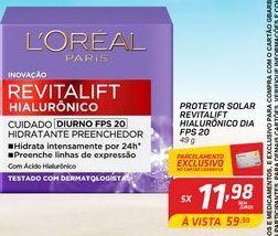 Oferta de Protetor solar revitalif hialuronicoFPS 20 L'Oréal 49 g por R$11,98