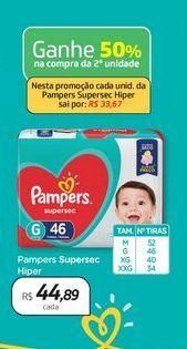 Oferta de Pampers Supersec Hiper por R$44,89
