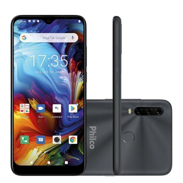 """Oferta de Smartphone Philco Hit P10 128GB 4GB RAM Câmera Tripla + Frontal 8MP Tela 6,2"""" Android 10.0 - Cinza Espacial por R$1199,59"""