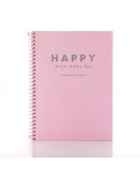 Oferta de Agenda Tilibra Espiral Planner Happy Rosa por R$49,9