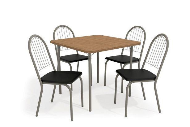 Oferta de Conjunto Mesa com 4 Cadeiras Kappesberg CMC649NK-110 - Nickel/Preto por R$903,36