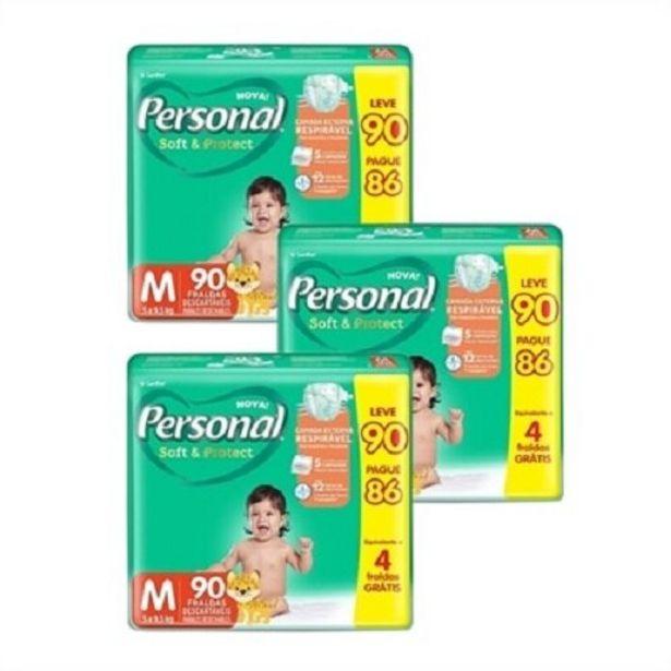 Oferta de Fralda Personal Soft & Protect Tamanho M - 3 Pacotes com 90 por R$180,41