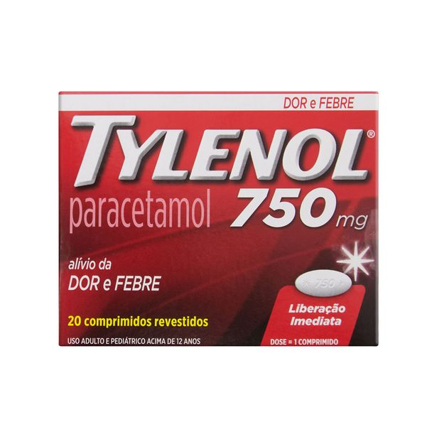 Oferta de Tylenol 750mg 20 Comprimidos por R$25,24