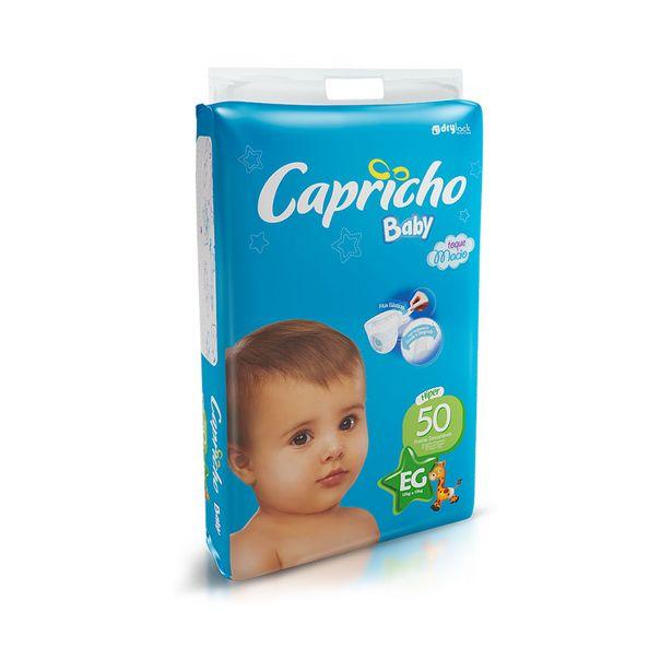 Oferta de Fraldas Infantil Descartáveis Capricho Baby Hiper Tamanho Eg com 50 Unidades por R$32,28
