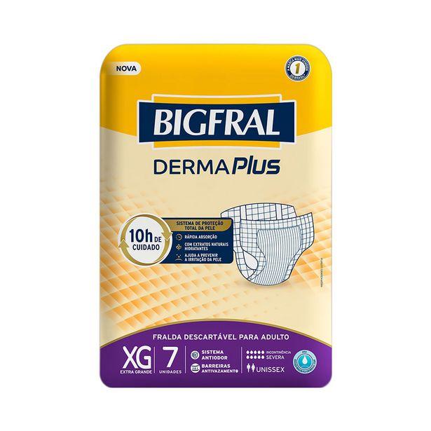 Oferta de Fraldas Geriátrica Bigfral Derma Plus Tamanho XG com 7 Unidades por R$23,29