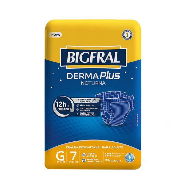 Oferta de Fraldas Geriátrica Bigfral Derma Plus Noturna Tamanho G com 7 Unidades por R$24,99