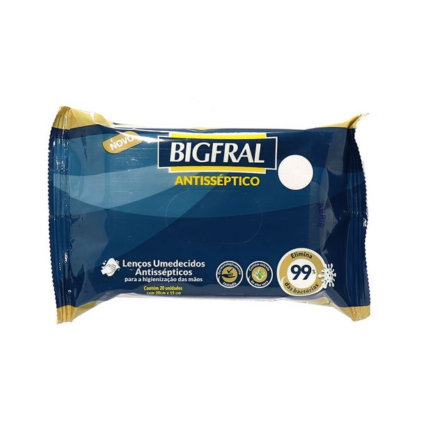 Oferta de Lenços Umedecidos Antissépticos Bigfral com 20 Unidades por R$10,95