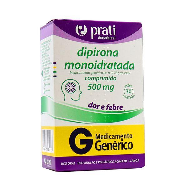 Oferta de Dipirona Monoidratada Prati 500mg com 30 Comprimidos Genérico por R$8,04