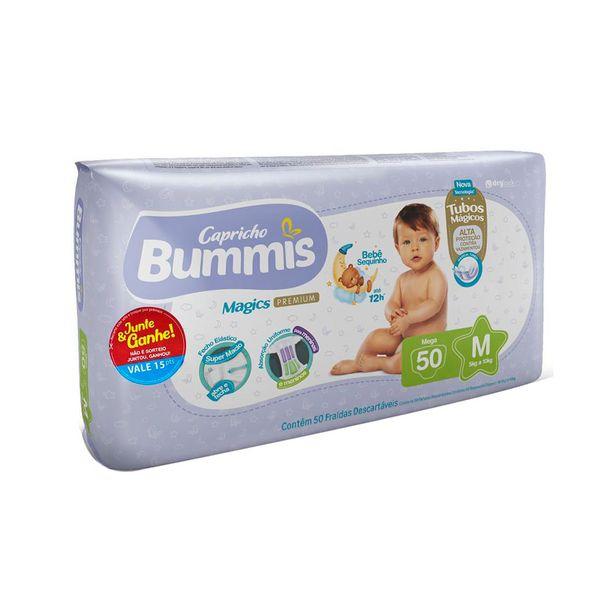 Oferta de Fraldas Infantil Descartáveis Capricho Bummis Premium Mega Tamanho M com 50 Unidades por R$39