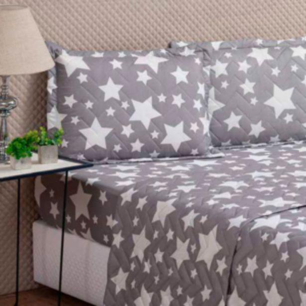 Oferta de Porta Travesseiro Avulso Col VidaeCor 50x70cm Stars Grey ... por R$9,61