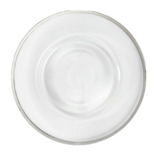 Oferta de Sousplat Plástico 32cm Transparente Borda Prata Vestcasa... por R$19,08