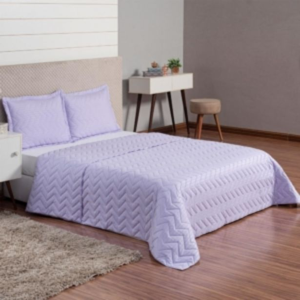 Oferta de Cobre Leito Colcha Queen Avulsa Ultrasonic Stripes Lavand... por R$69,9