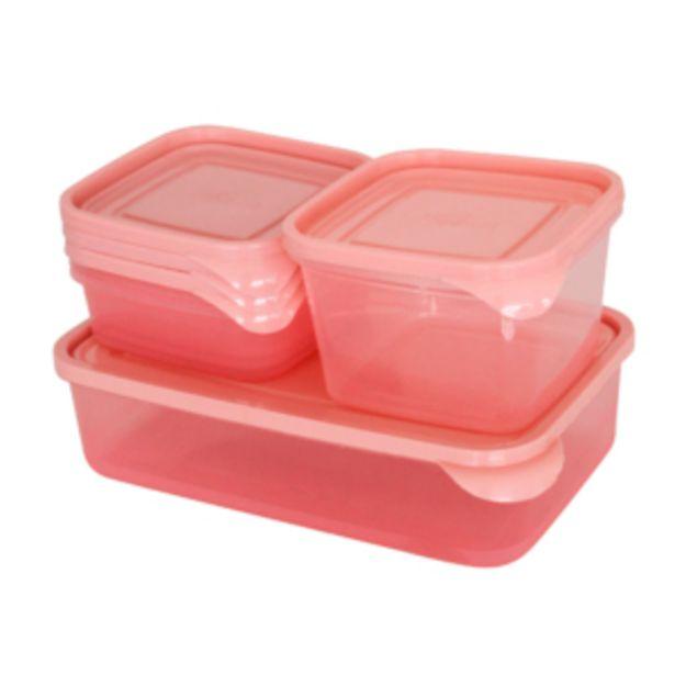 Oferta de Kit Potes Multiuso 5 Peças Rosa Vestcasa... por R$12,45