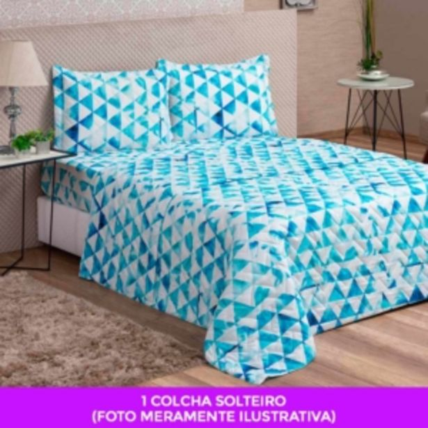 Oferta de Cobre Leito Colcha Solteiro Avulsa Col VidaeCor Geometric... por R$29,99