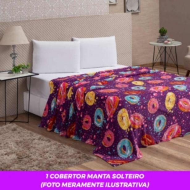 Oferta de Cobertor Manta Solteiro Microfibra Flannel Sweet Donuts V... por R$29