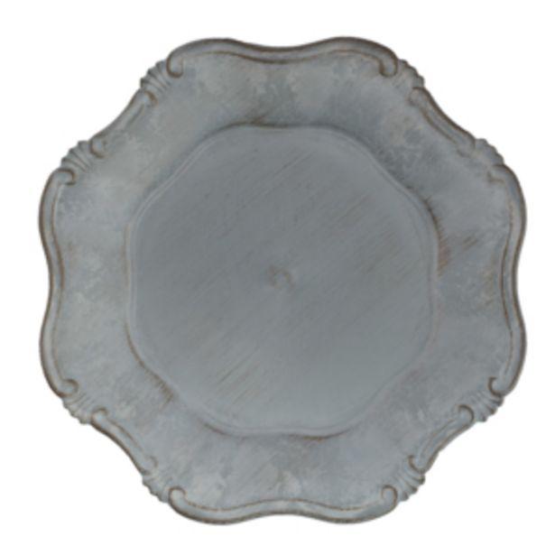 Oferta de Sousplat Plástico 35cm Cinza Elefante Vestcasa... por R$12,41