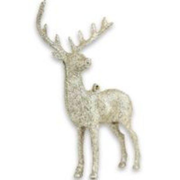 Oferta de Enfeite natalino Rena do Papai Noel 16x9cm glitter Champanhe por R$11,75