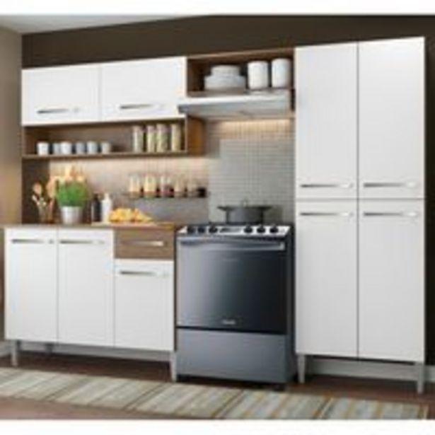 Oferta de Armário de Cozinha Compacta Madesa Emilly Pop com Balcão Rustic/Branco por R$859,99