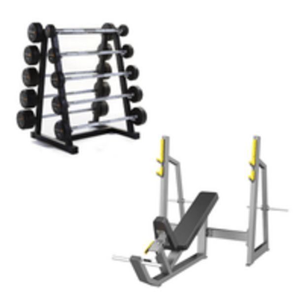 Oferta de Combo Fit - Olimpic Incline Bench Classic e Estante Horizontal para 10 Barras Montadas Wellness - EM017K por R$7598,39