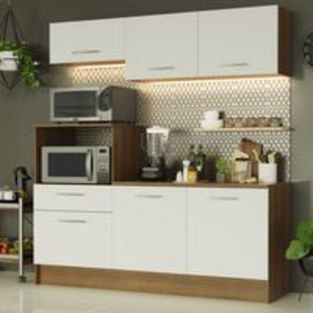 Oferta de Armário de Cozinha Compacta Madesa Onix 180001 com Balcão Rustic/Branco por R$969,99