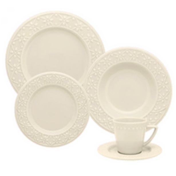 Oferta de Aparelho de Jantar e Chá Oxford Mendi Marfim, 20 Peças, Porcelana - NK20-7301 por R$249,9
