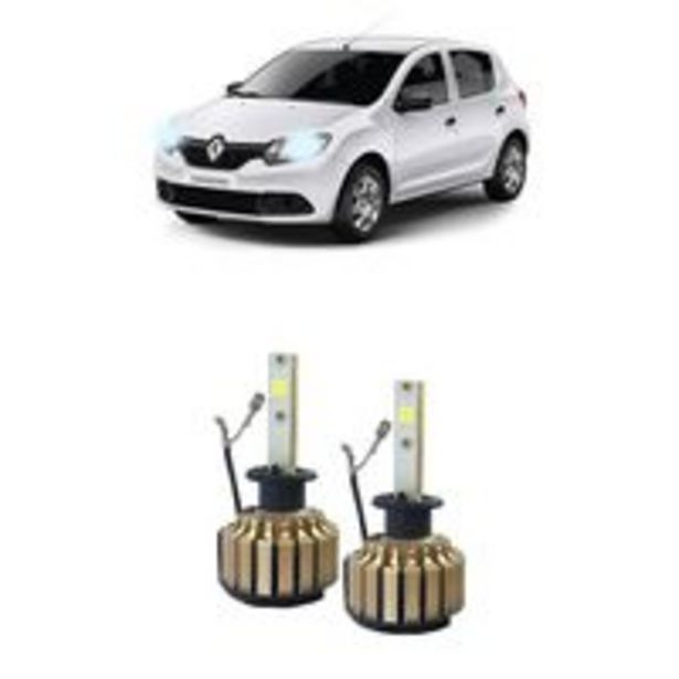 Oferta de Kit Faróis Super Led 6000k Renault Sandero 2007 2014 Simples por R$89,32