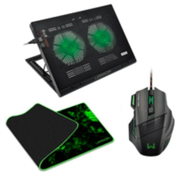 Oferta de Combo Gamer - Cooler Para Notebook Gamer Led Verde, Mouse Gamer 3200DPI e Mouse Pad Gamer Para Teclado e Mouse Warrior - AC267K por R$239,99