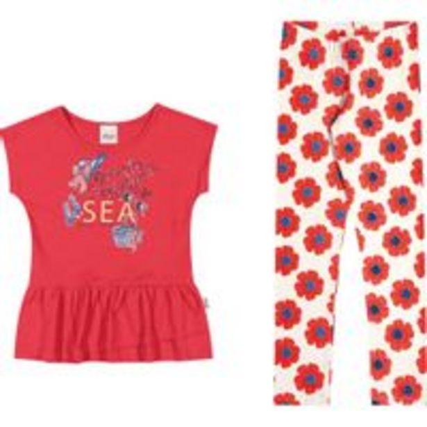 Oferta de Conjunto Infantil Elian Blusa e Calça Legging - Em Algodão e Elastano - Rosa e Branco por R$44,91