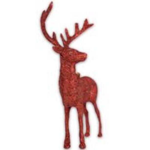 Oferta de Enfeite natalino Rena do Papai Noel 16x9cm glitter Vermelho por R$11,75