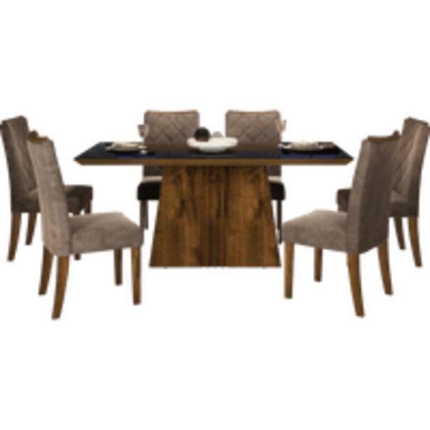 Oferta de Mesa de Jantar 6 Cadeiras Golden com Tecido Suede Pena, 170x90cm - DJ Móveis Itália por R$2399