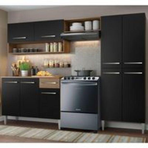 Oferta de Armário de Cozinha Compacta Madesa Emilly Pop com Balcão Rustic/Preto por R$859,99