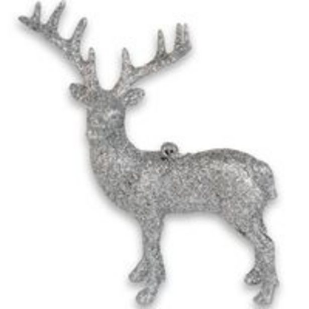 Oferta de Enfeite natalino Rena do Papai Noel 16x9cm glitter Prata por R$11,75