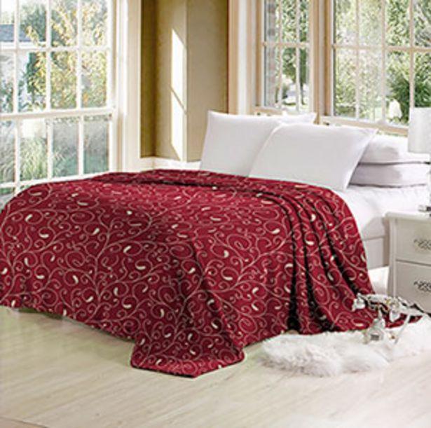 Oferta de Cobertor de Microfibra Queen Arabesco Vermelho - Beau Tissu por R$129,9