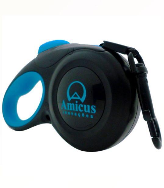 Oferta de Guia Retrátil Amicus Star Flex Preto e Azul por R$99,9