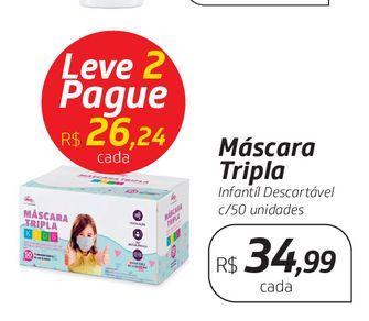 Oferta de Máscara Tripla Infantíl Descartável c/50 unidades por R$34,99