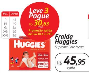 Oferta de Fralda Huggies Supreme Care Mega por R$45,95