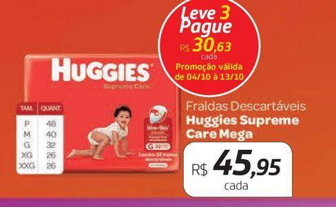 Oferta de Fraldas Huggies supreme care Mega por R$45,95