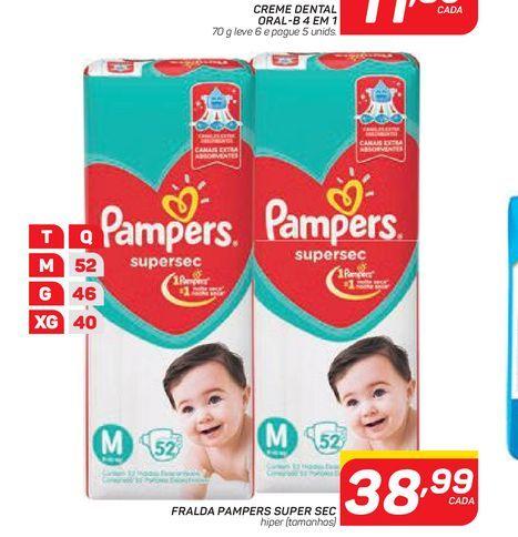 Oferta de FRALDA PAMPERS SUPER SEC por R$38,99